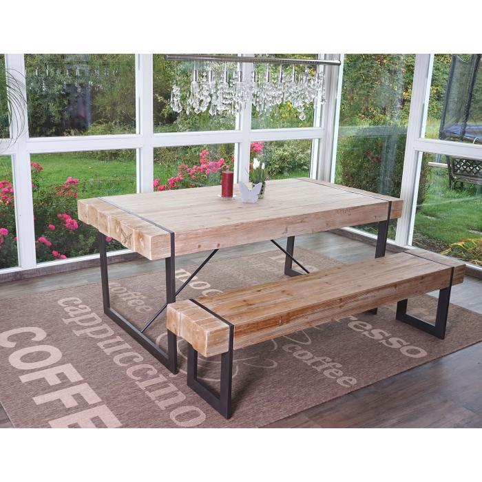 Esszimmergarnitur HWC A15 Esstisch 1x Sitzbank Tanne Holz Rustikal Massiv 180cm