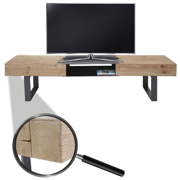 Tv rack holz  Rack HWC-A15, Fernsehtisch, Tanne Holz rustikal massiv 46x180x41cm