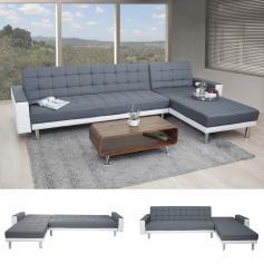 Ecksofa HWC A97, Sofa Couch Gästebett, Schlaffunktion 298x190cm ~  Textil+Kunstleder,