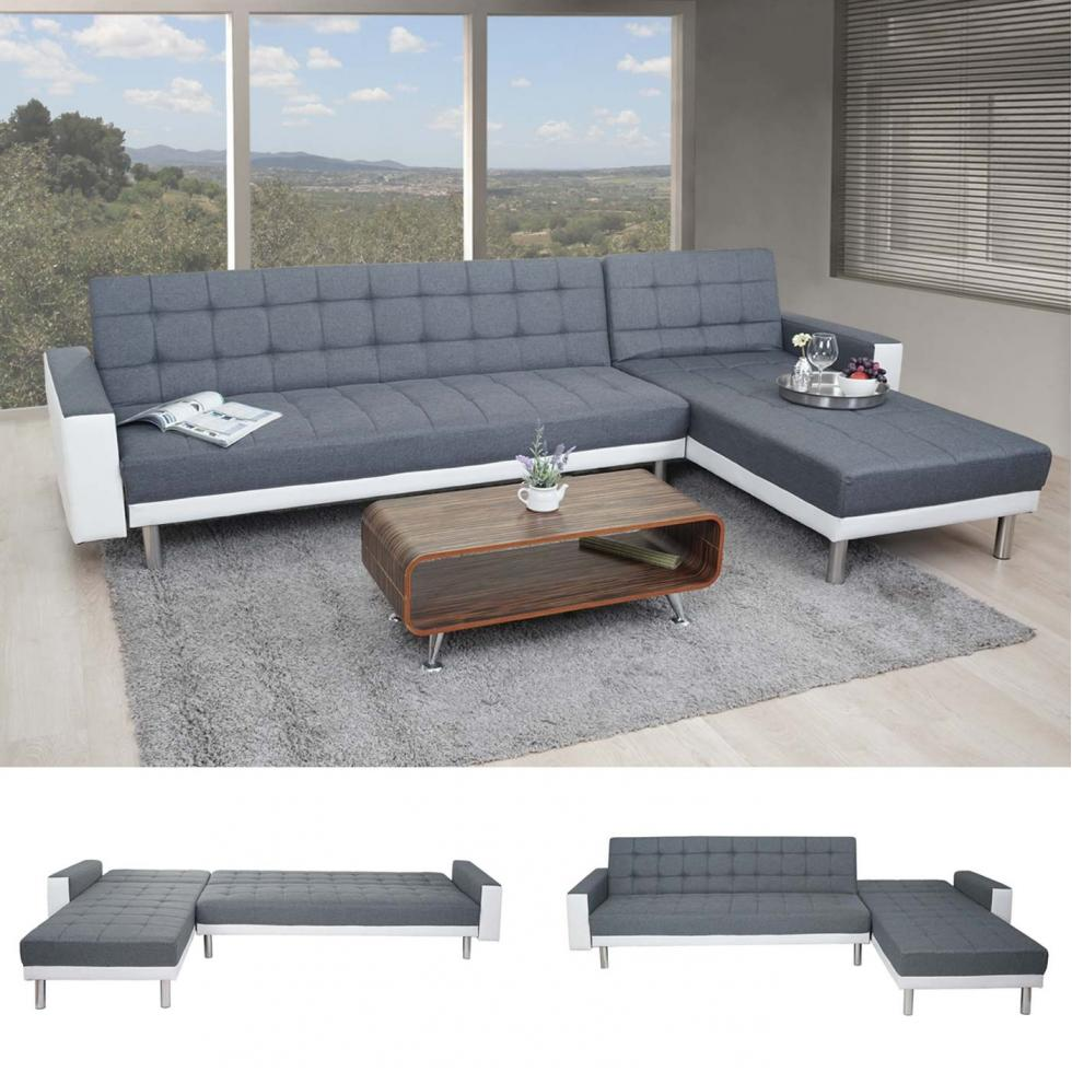 loungesofa hwc a97 schlaffunktion 298x190cm textil kunstleder grau wei ebay. Black Bedroom Furniture Sets. Home Design Ideas