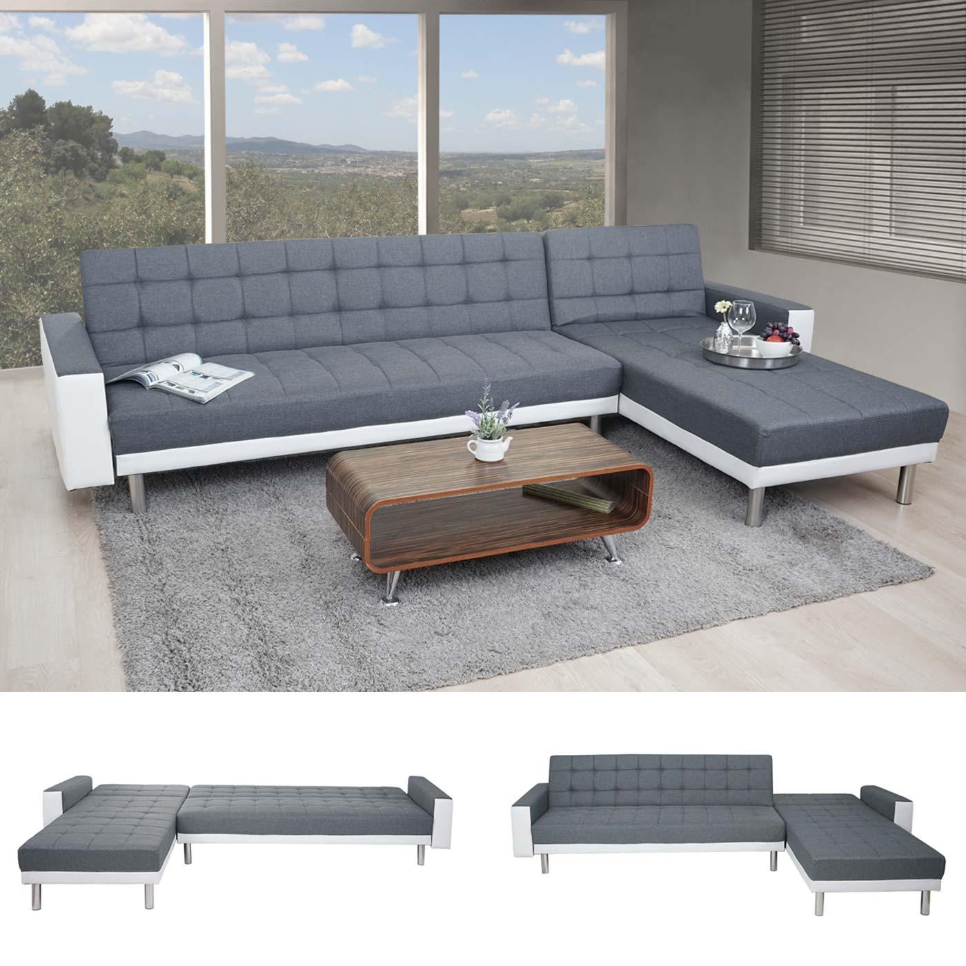 Wunderschön Ecksofa Kunstleder Dekoration Von Hwc-a97, Sofa Couch Gästebett, Schlaffunktion 298x190cm ~