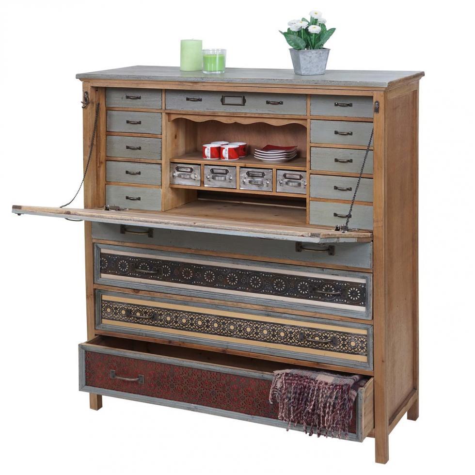Sekretär HWC-A43, Schrank, Tanne Holz massiv Vintage Patchwork ...