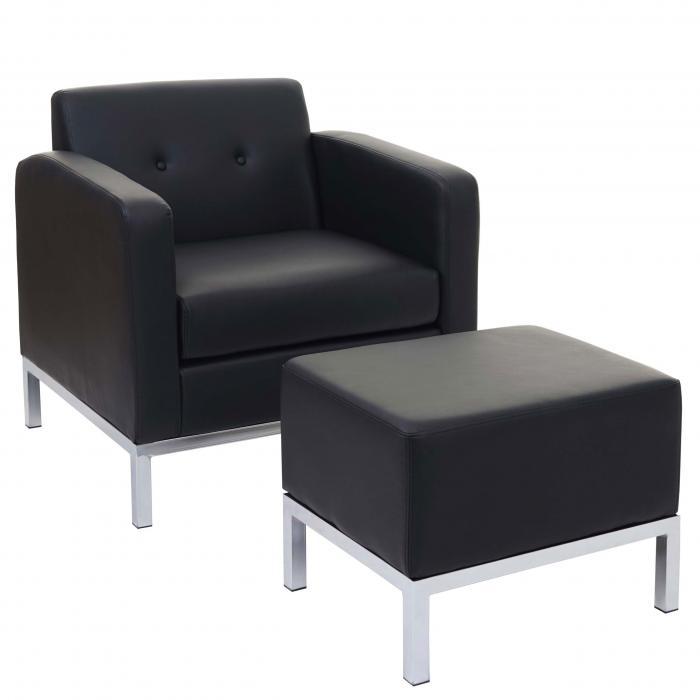 sessel mit ottomane hwc c19 modular sofa mit armlehnen erweiterbar kunstleder schwarz. Black Bedroom Furniture Sets. Home Design Ideas