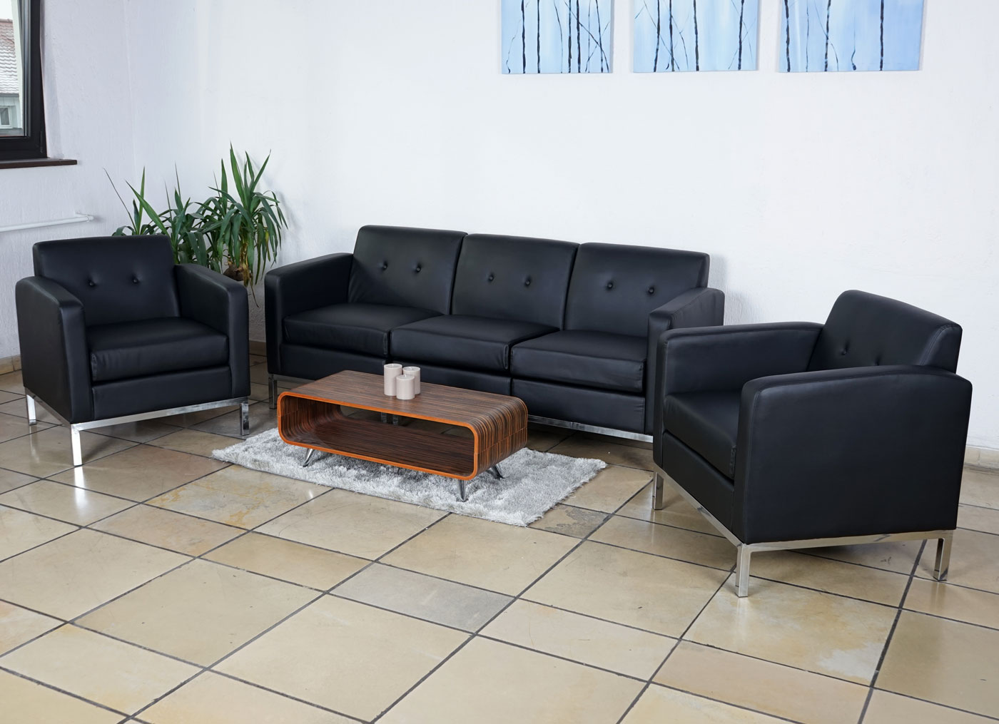 3 1 1 sofagarnitur hwc c19 modular sofa erweiterbar kunstleder ebay. Black Bedroom Furniture Sets. Home Design Ideas