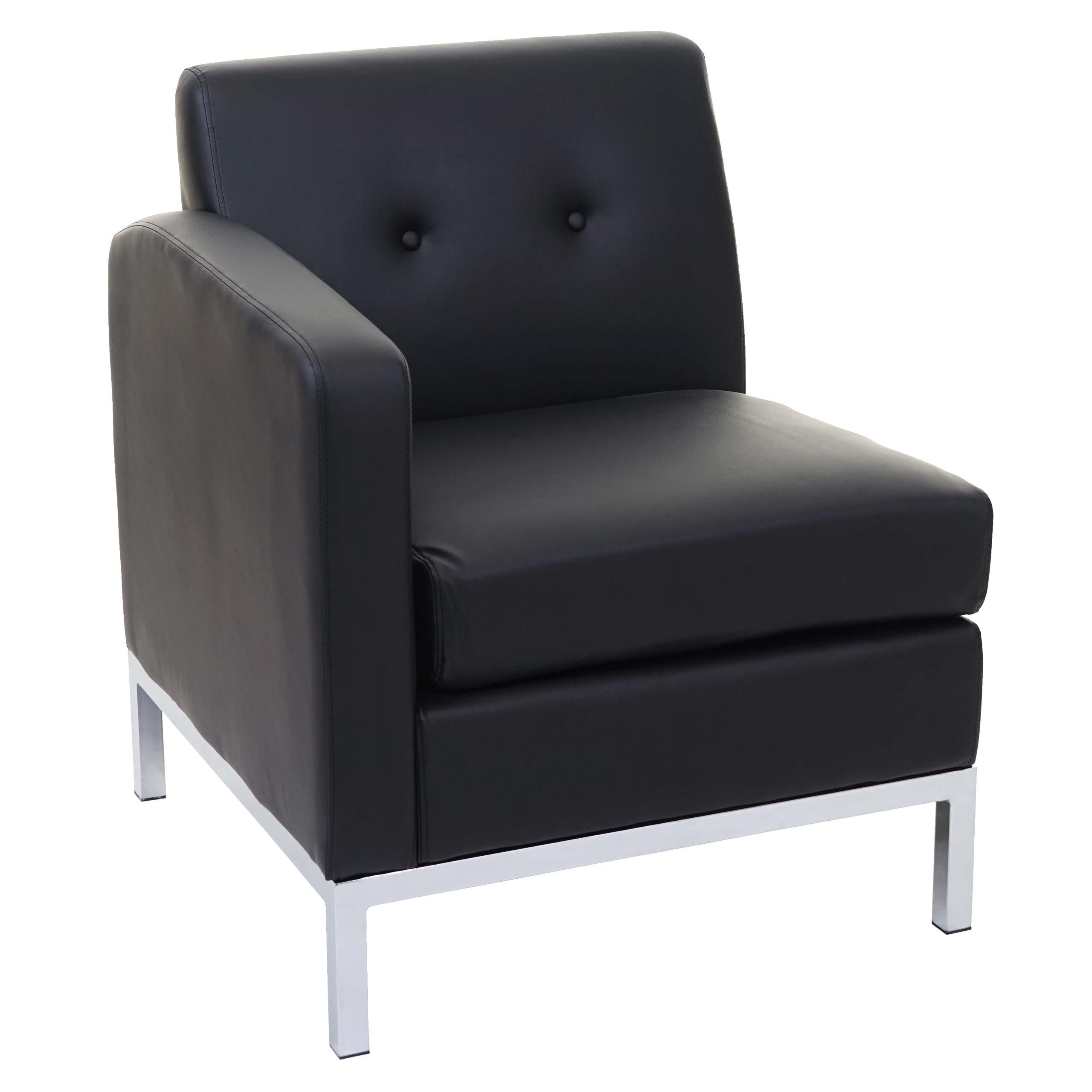 sessel hwc c19 modular sofa seitenteil links mit armlehne erweiterbar kunstleder schwarz. Black Bedroom Furniture Sets. Home Design Ideas