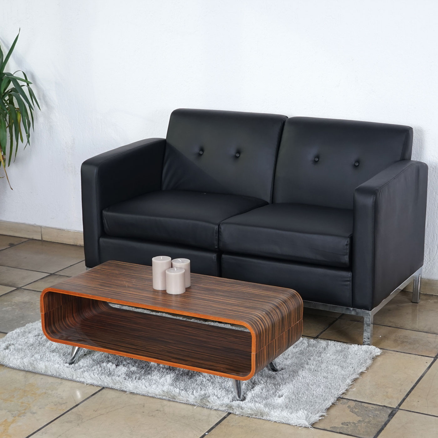 2er sofa hwc c19 modular sofa couch mit armlehnen erweiterbar kunstleder schwarz. Black Bedroom Furniture Sets. Home Design Ideas