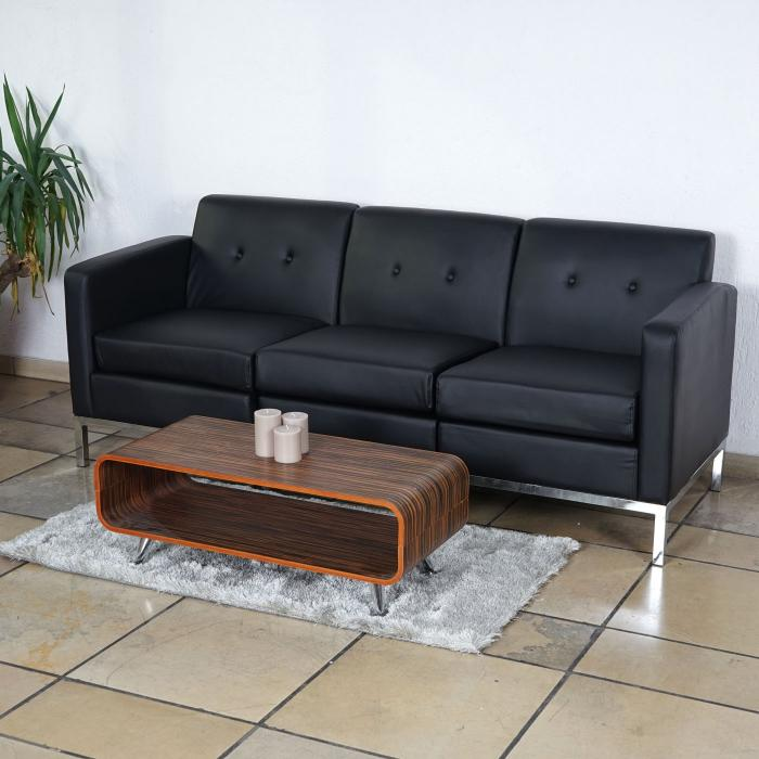 3er sofa hwc c19 modular sofa couch mit armlehnen erweiterbar kunstleder schwarz. Black Bedroom Furniture Sets. Home Design Ideas