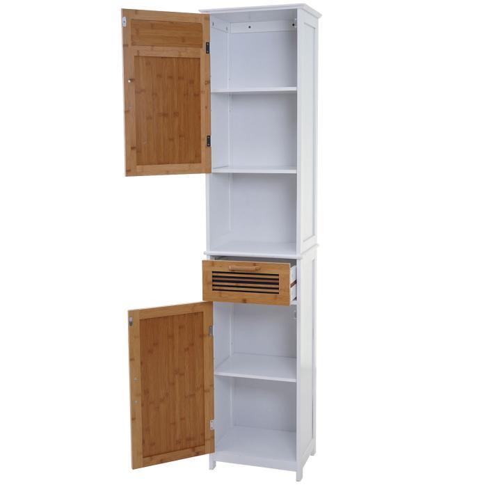 hochschrank hwc a85 badschrank badregal bambus. Black Bedroom Furniture Sets. Home Design Ideas