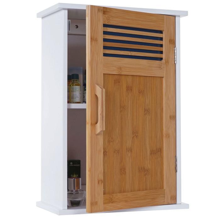 h ngeschrank hwc a85 badschrank wandschrank bambus. Black Bedroom Furniture Sets. Home Design Ideas