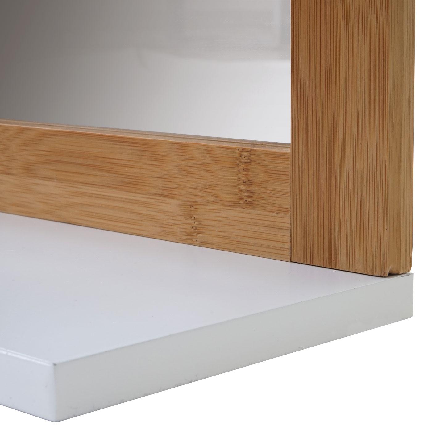 badezimmerset waschbeckenunterschrank wandspiegel hwc a85 bambus wei ebay. Black Bedroom Furniture Sets. Home Design Ideas