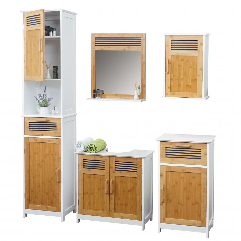 badm bel hwc a85 badezimmer badschrank badset bambus wei ebay. Black Bedroom Furniture Sets. Home Design Ideas