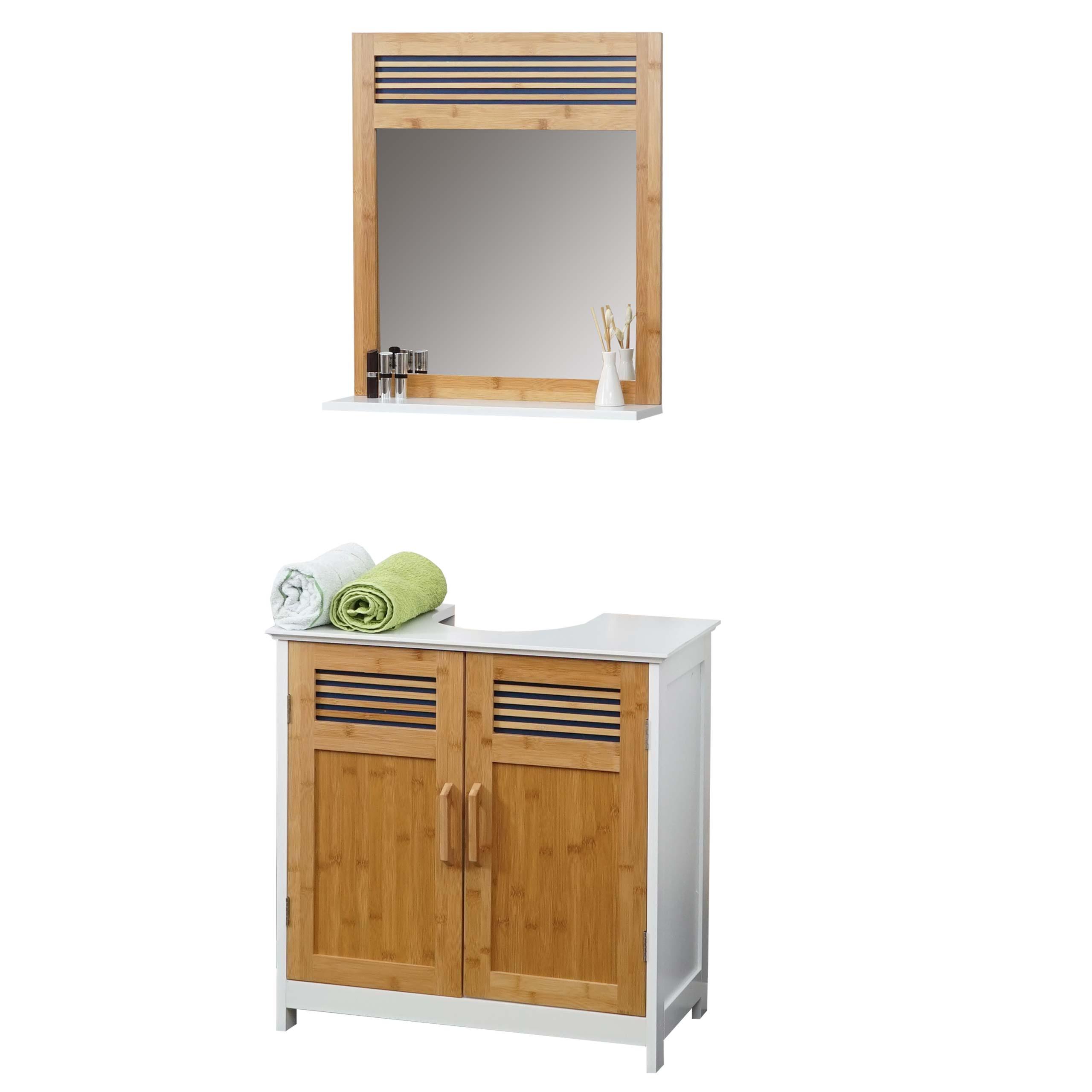 Badm bel hwc a85 badezimmer badschrank badset bambus wei ebay - Bambus badezimmer ...