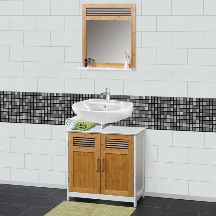 Badezimmer Set Weiß | Badezimmerset Hwc A85 Waschbeckenunterschrank Wandspiegel Bambus Weiss