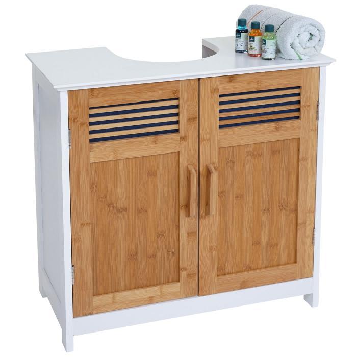 waschbeckenunterschrank hwc a85 badschrank bambus. Black Bedroom Furniture Sets. Home Design Ideas