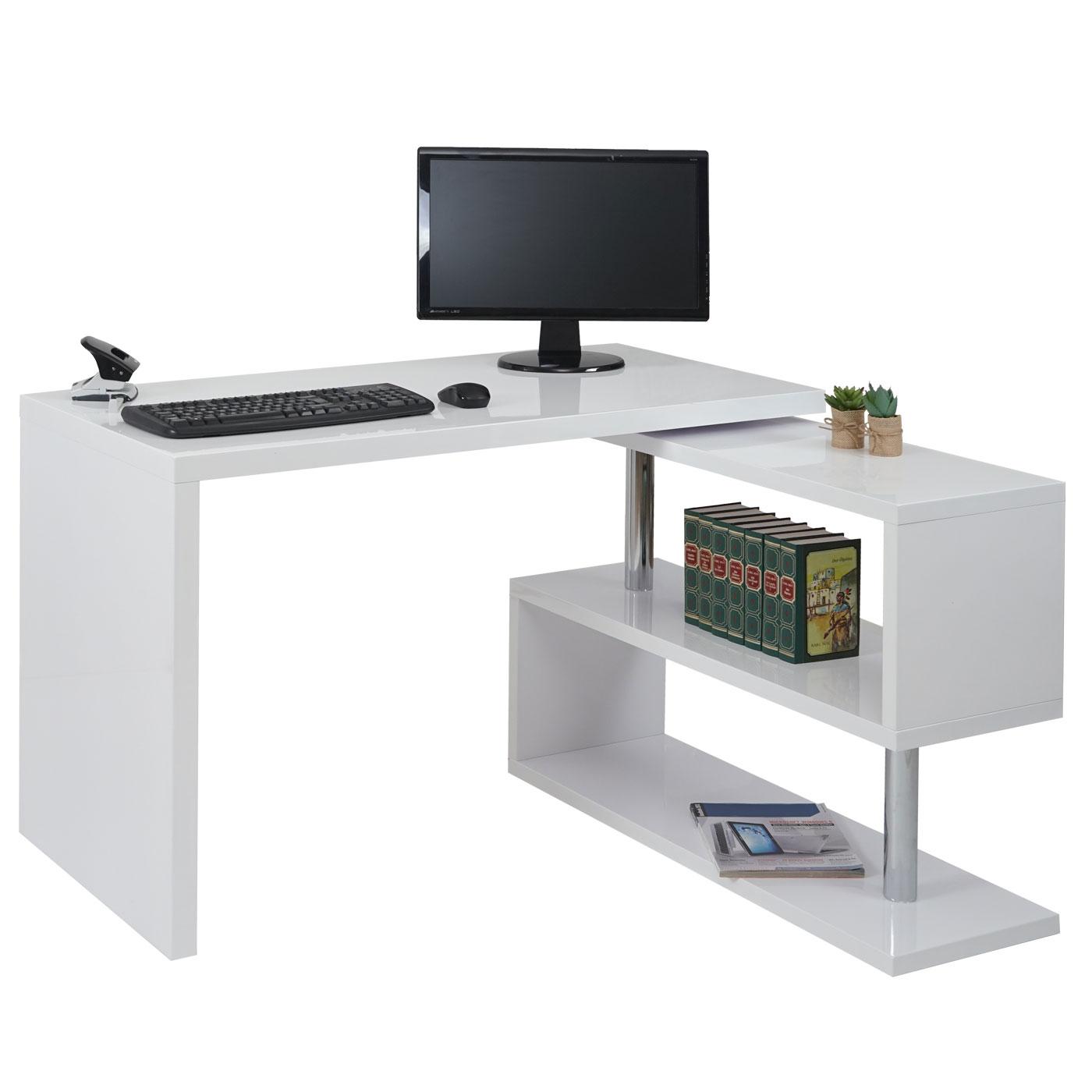 Eckschreibtisch hwc a68 b rotisch schreibtisch hochglanz for Schreibtisch drehbar
