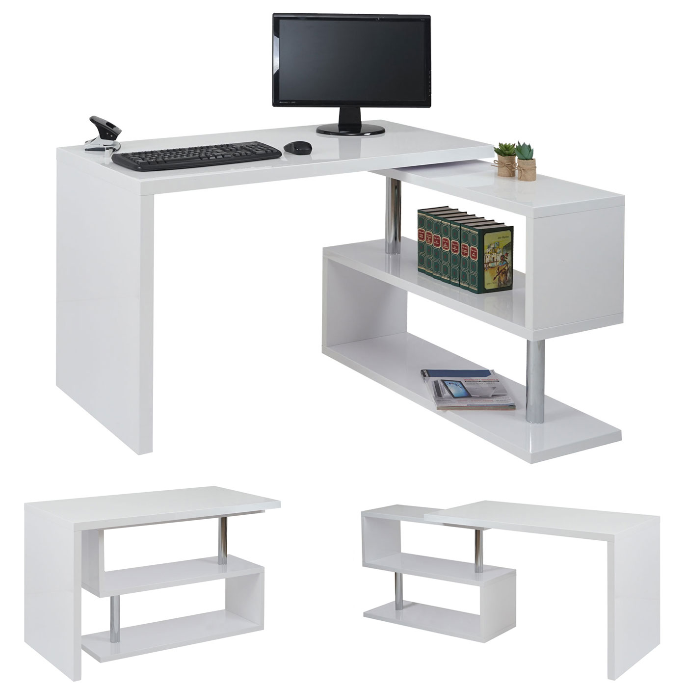 design eckschreibtisch hwc a68 b rotisch schreibtisch hochglanz drehbar 120x60cm wei. Black Bedroom Furniture Sets. Home Design Ideas
