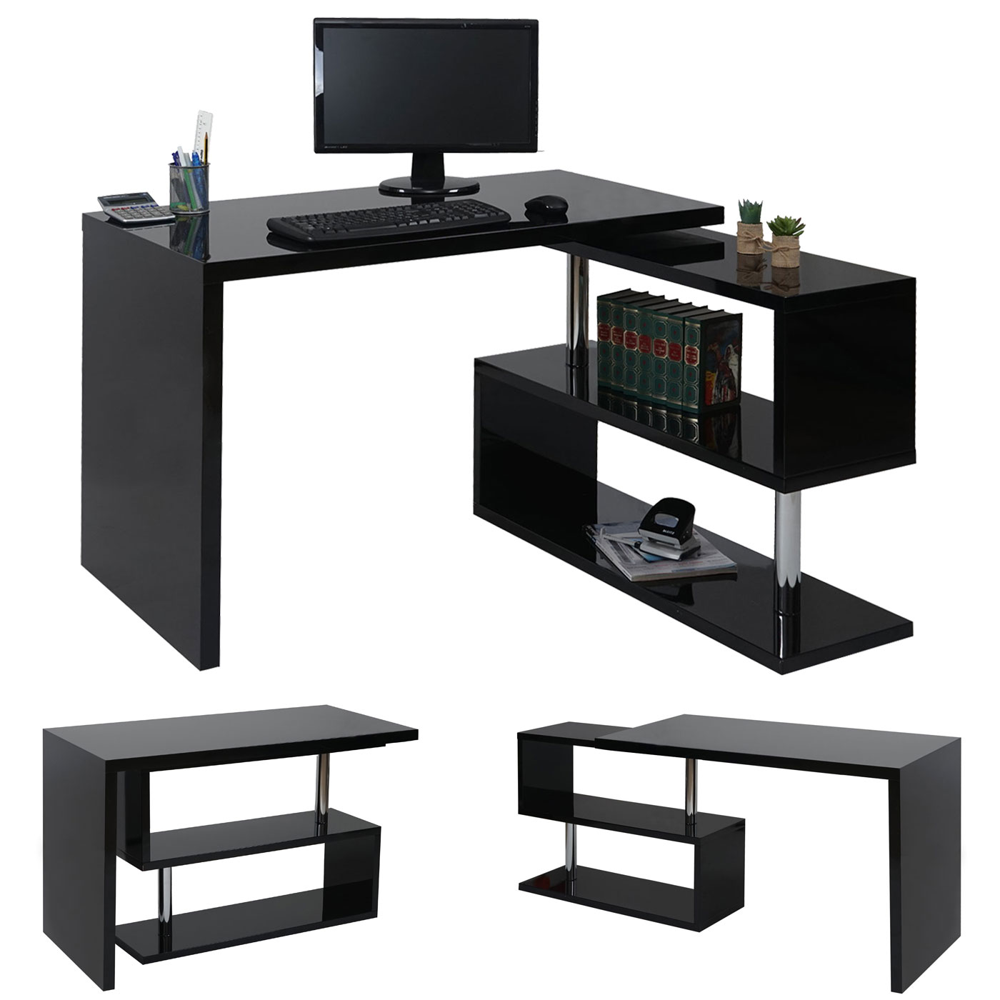 design eckschreibtisch hwc a68 b rotisch schreibtisch hochglanz drehbar 120x60cm schwarz. Black Bedroom Furniture Sets. Home Design Ideas