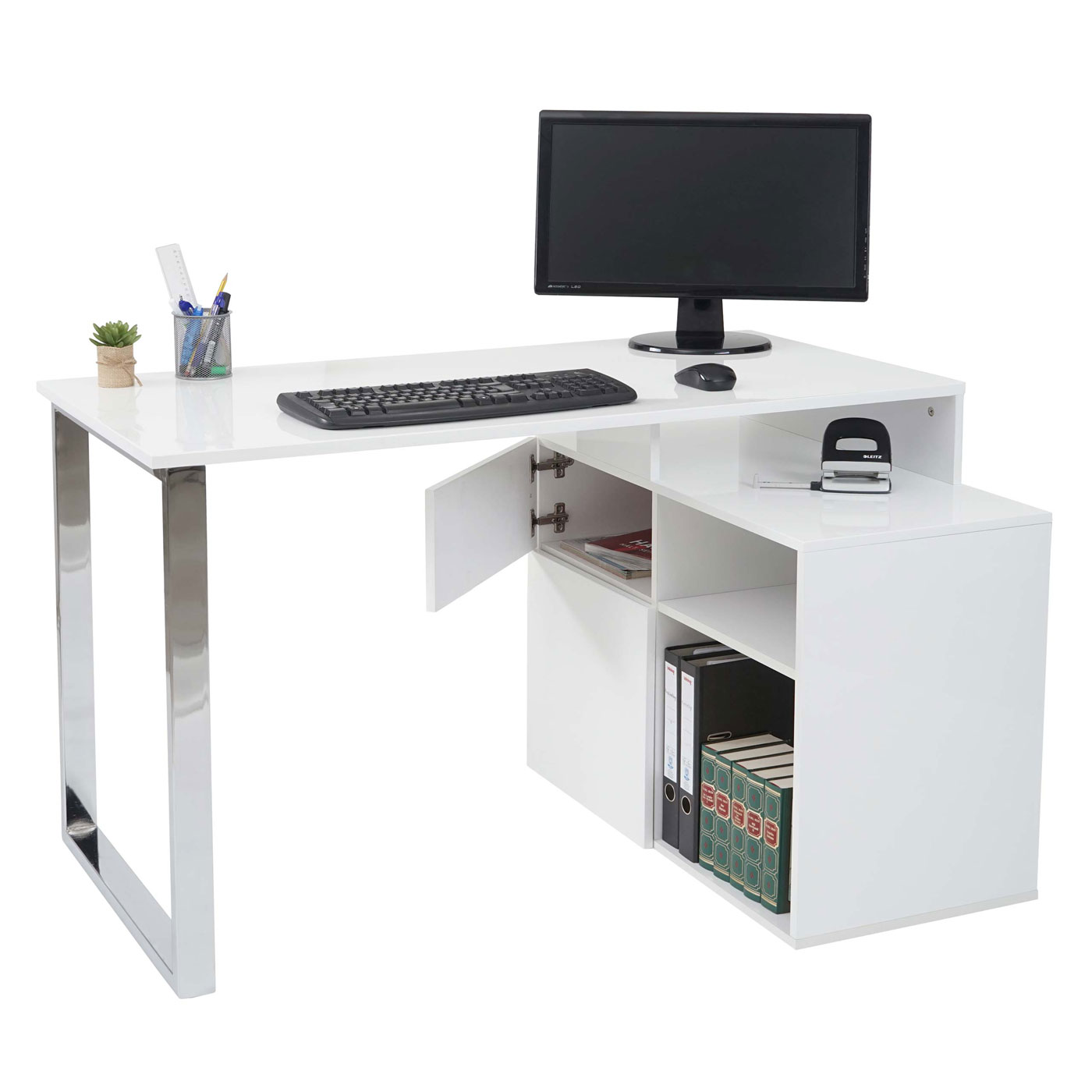 eckschreibtisch hwc a72 b rotisch schreibtisch computertisch hochglanz 120x80cm wei. Black Bedroom Furniture Sets. Home Design Ideas