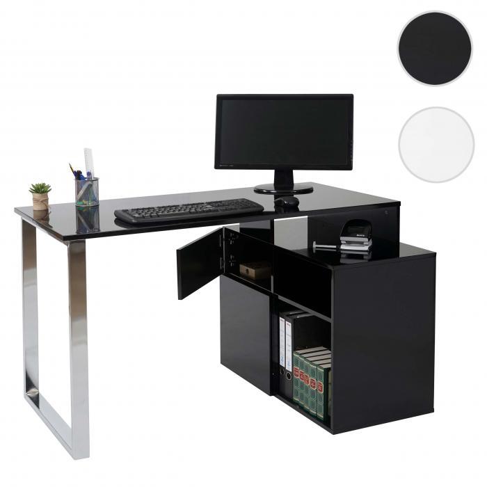 eckschreibtisch hwc a72 b rotisch schreibtisch computertisch hochglanz 120x80cm schwarz. Black Bedroom Furniture Sets. Home Design Ideas