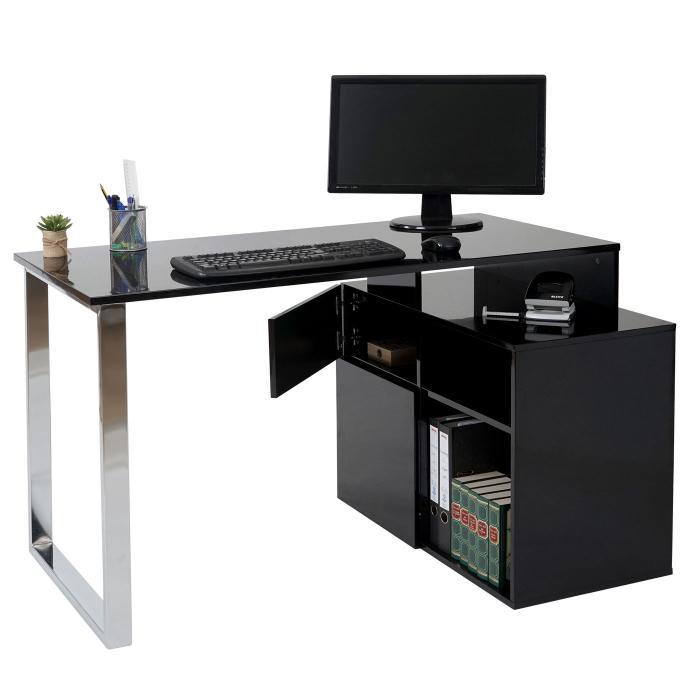 Eckschreibtisch schwarz weiß  HWC-A72, Bürotisch Schreibtisch Computertisch, hochglanz 120x80cm ...