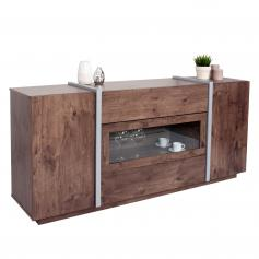 Kommode HWC-B47, Sideboard Anrichte Schrank, Glastür Push-to-open 170x42cm ~ dunkle Eiche-Optik