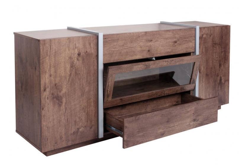 kommode hwc b47 sideboard anrichte schrank glast r push to open 170x42cm dunkle eiche optik. Black Bedroom Furniture Sets. Home Design Ideas
