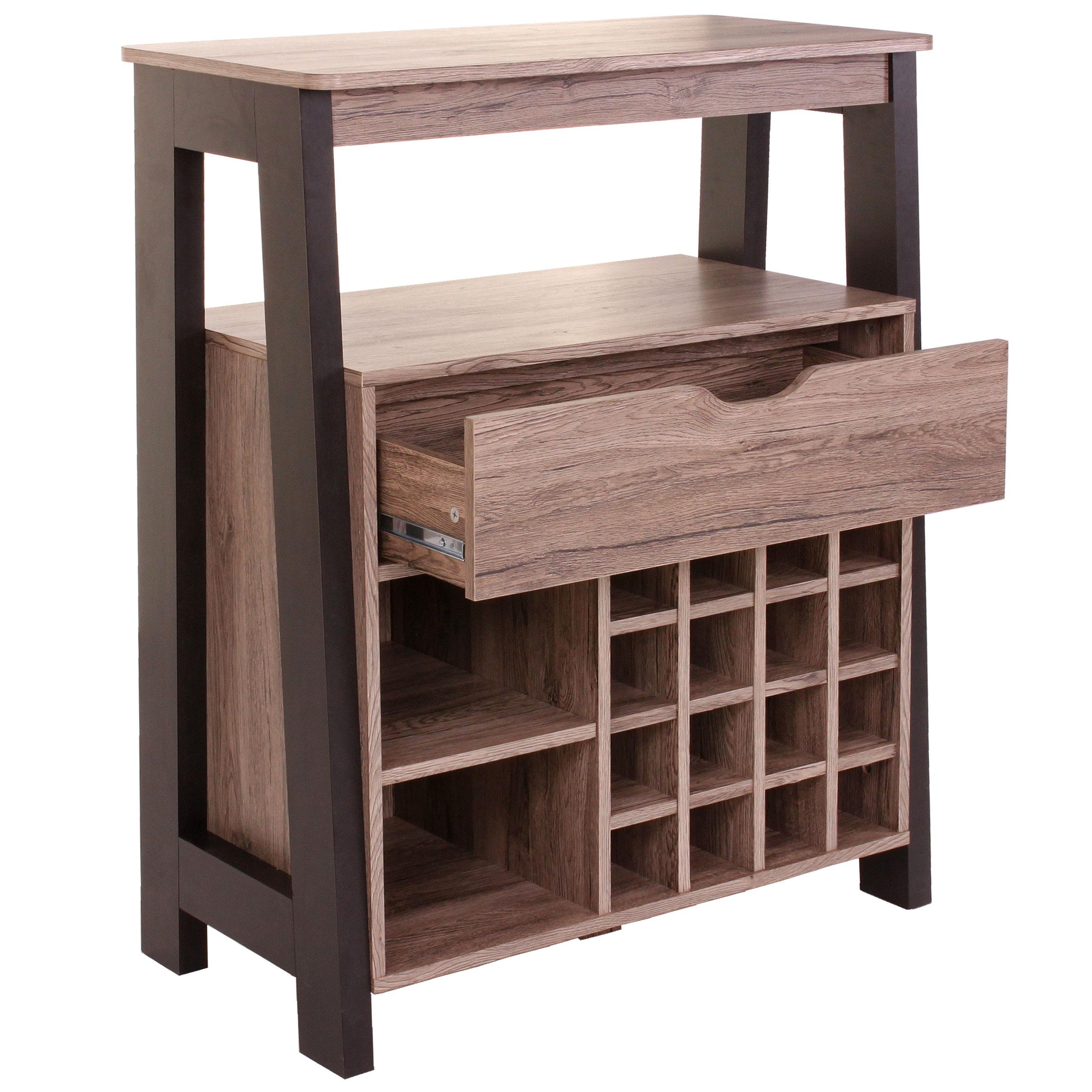 weinregal hwc b57 regal f r 16 flaschen mit schublade 3d. Black Bedroom Furniture Sets. Home Design Ideas