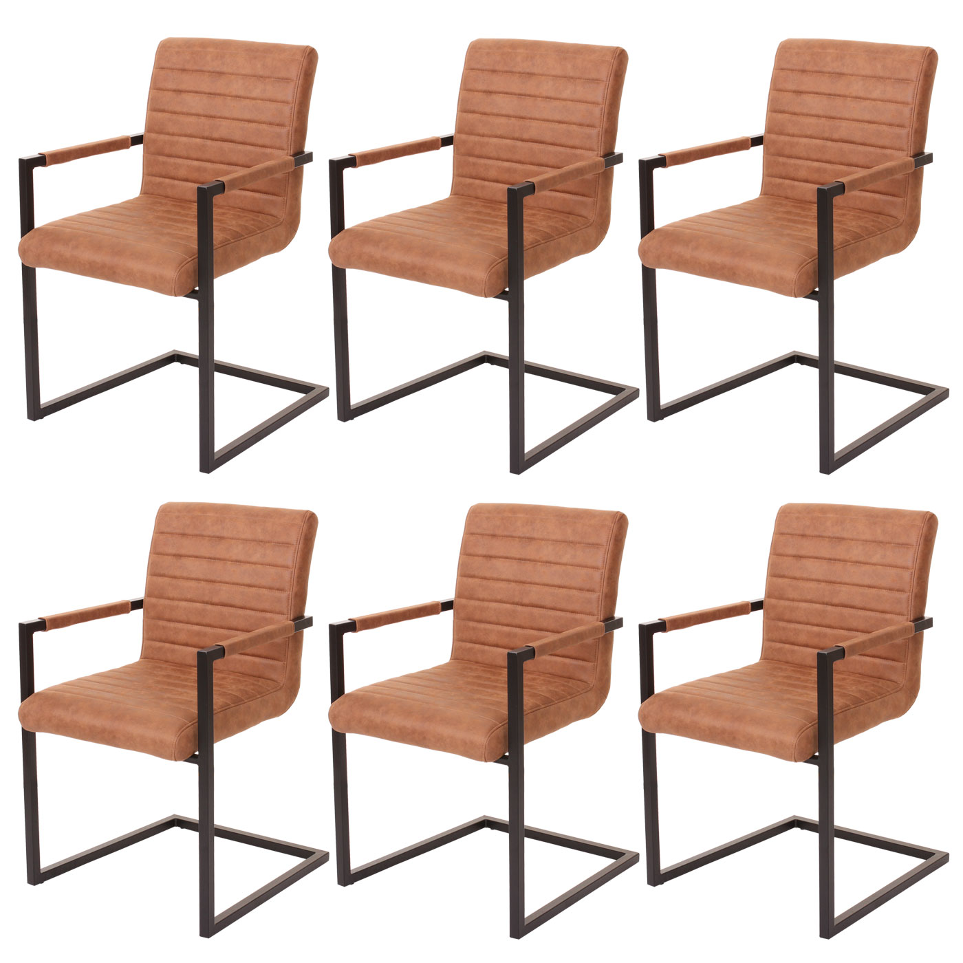 2x chaise salle manger hwc b45 cantilever imitation daim tissu marron ebay. Black Bedroom Furniture Sets. Home Design Ideas
