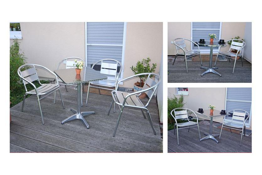 garten sitzgruppe bistro garnitur aluminium stapelbar. Black Bedroom Furniture Sets. Home Design Ideas