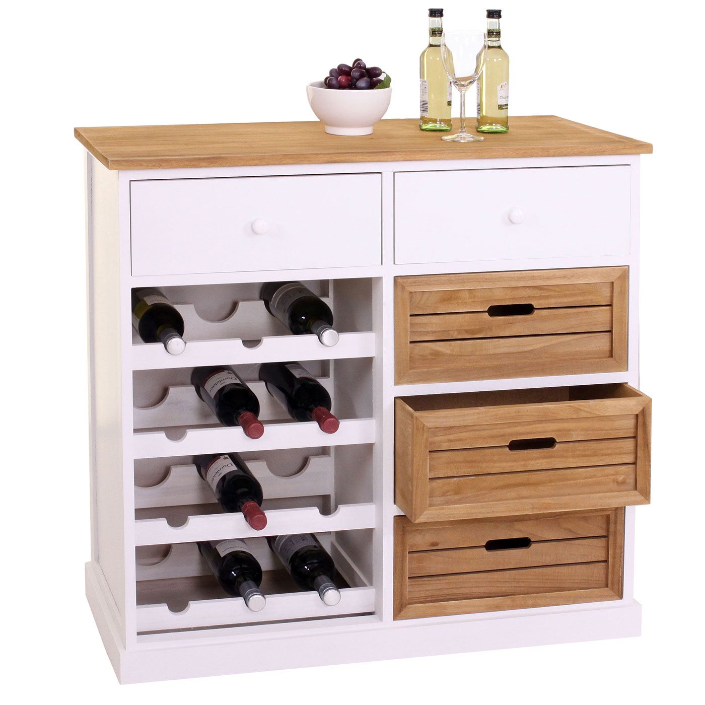 Mendler Weinregal HWC-B96, Kommode Flaschenregal für 12 Flaschen mit Schubladen, Landhaus 86x87x37cm ~ Varia 57307