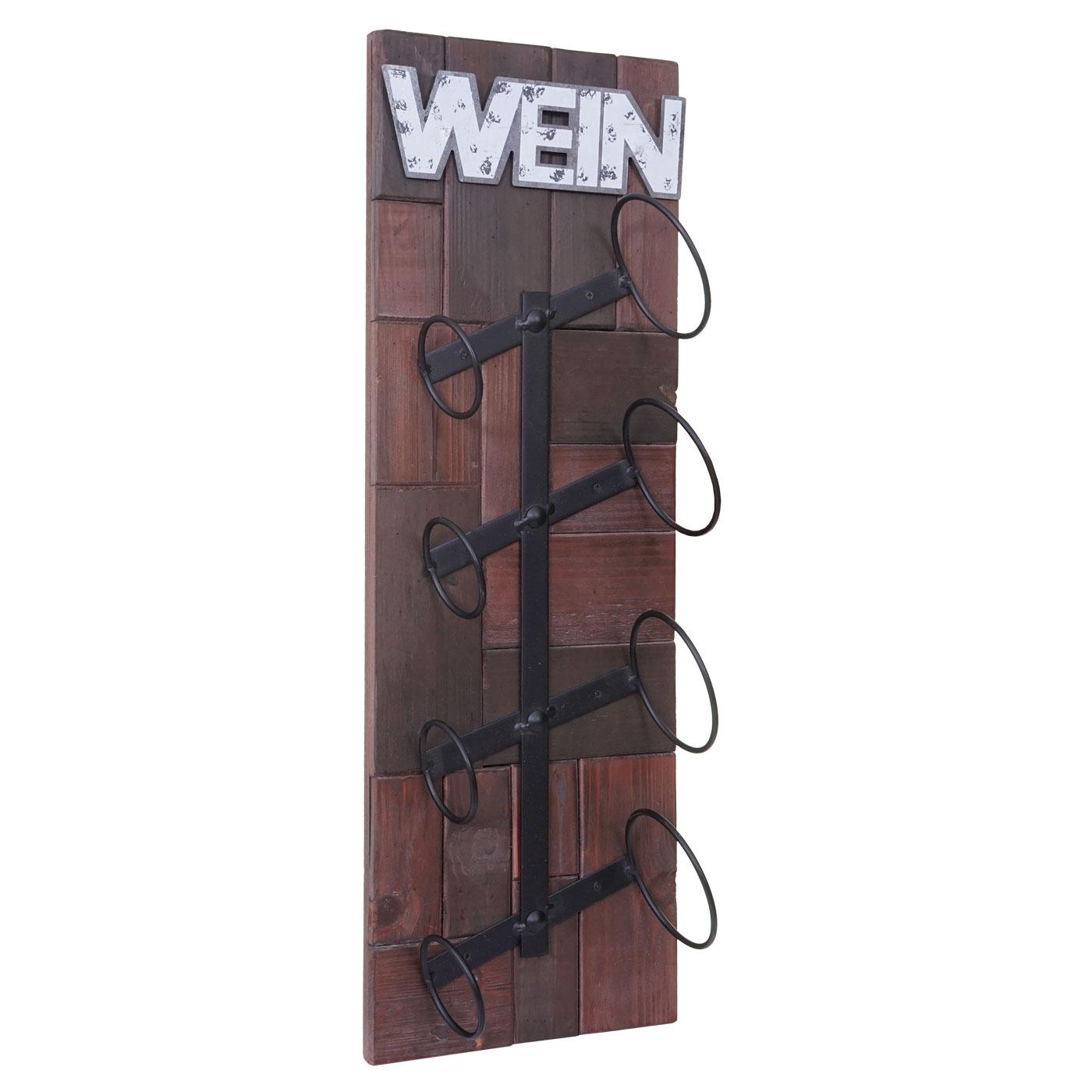 weinregal hwc a90 wandregal flaschenhalter holz metall f r 4 oder 6 flaschen ebay. Black Bedroom Furniture Sets. Home Design Ideas