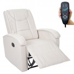 Massage-Fernsehsessel HWC-T964, Relaxsessel Sessel, Heizfunktion ~ creme