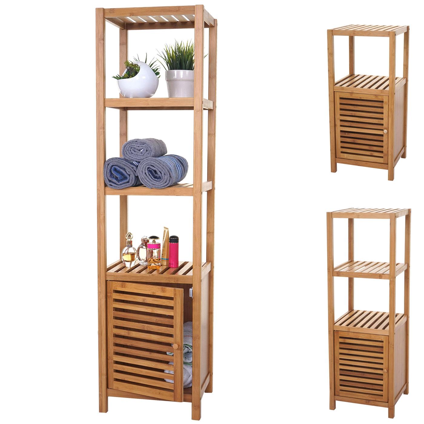 Mendler Badregal HWC-B18, Badezimmer Badschrank Standregal mit Tür, Bambus ~ Variantenangebot 57556