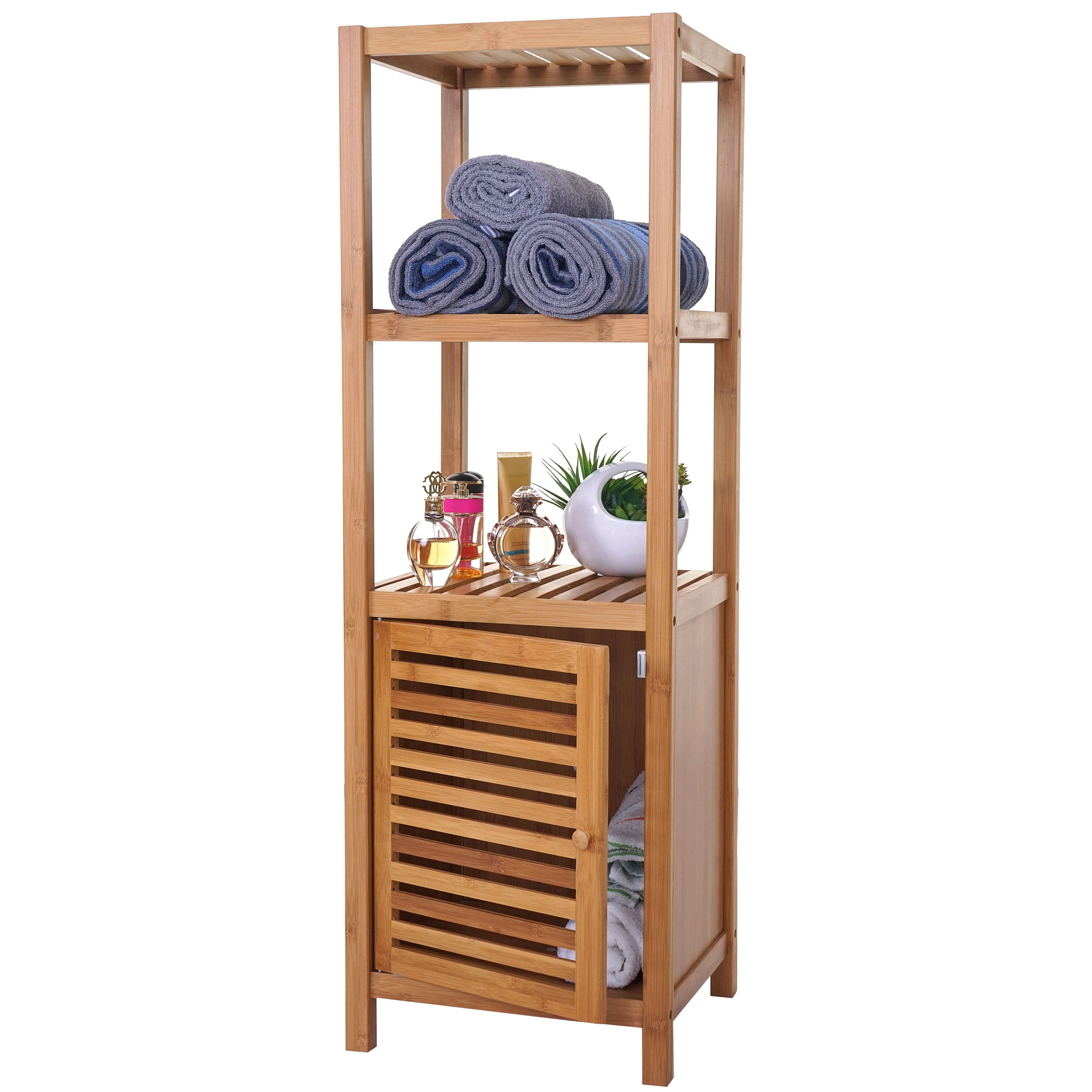 Badregal HWC-B16, Badezimmer Badschrank Standregal mit Tür, Bambus ~  16x16x16cm