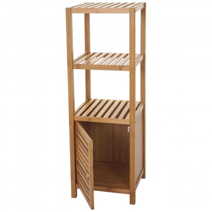 Badregal HWC-B18, Badezimmer Badschrank Standregal mit Tür, Bambus ~  110x36x34cm