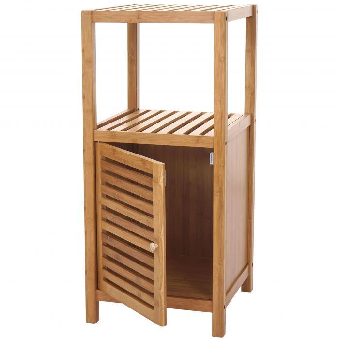 Badregal HWC-B18 Badschrank Badezimmer Standregal mit Tür Bambus 80x36x34cm
