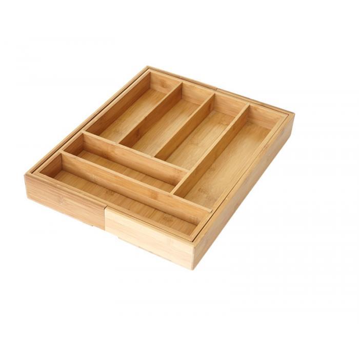 Besteckkasten HWC-B20, Schubladeneinsatz Geschirrkasten, Bambus variabel  35-58x45cm