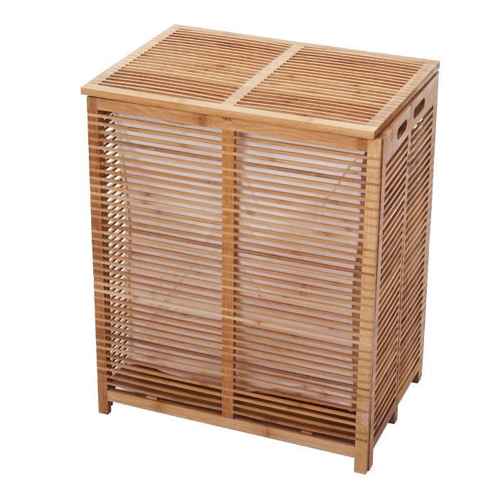 Wäschetruhe Hwc B18 Wäschebox Wäschekorb Wäschesammler Bambus 61x50x35cm