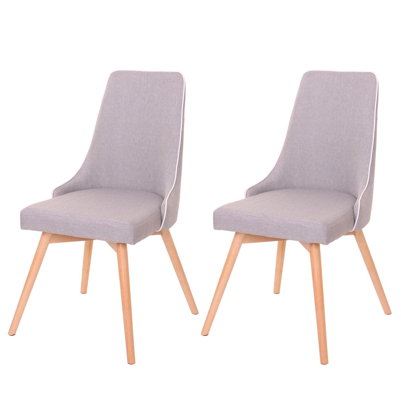 2x esszimmerstuhl hwc b44 stuhl lehnstuhl retro 50er jahre design textil grau. Black Bedroom Furniture Sets. Home Design Ideas