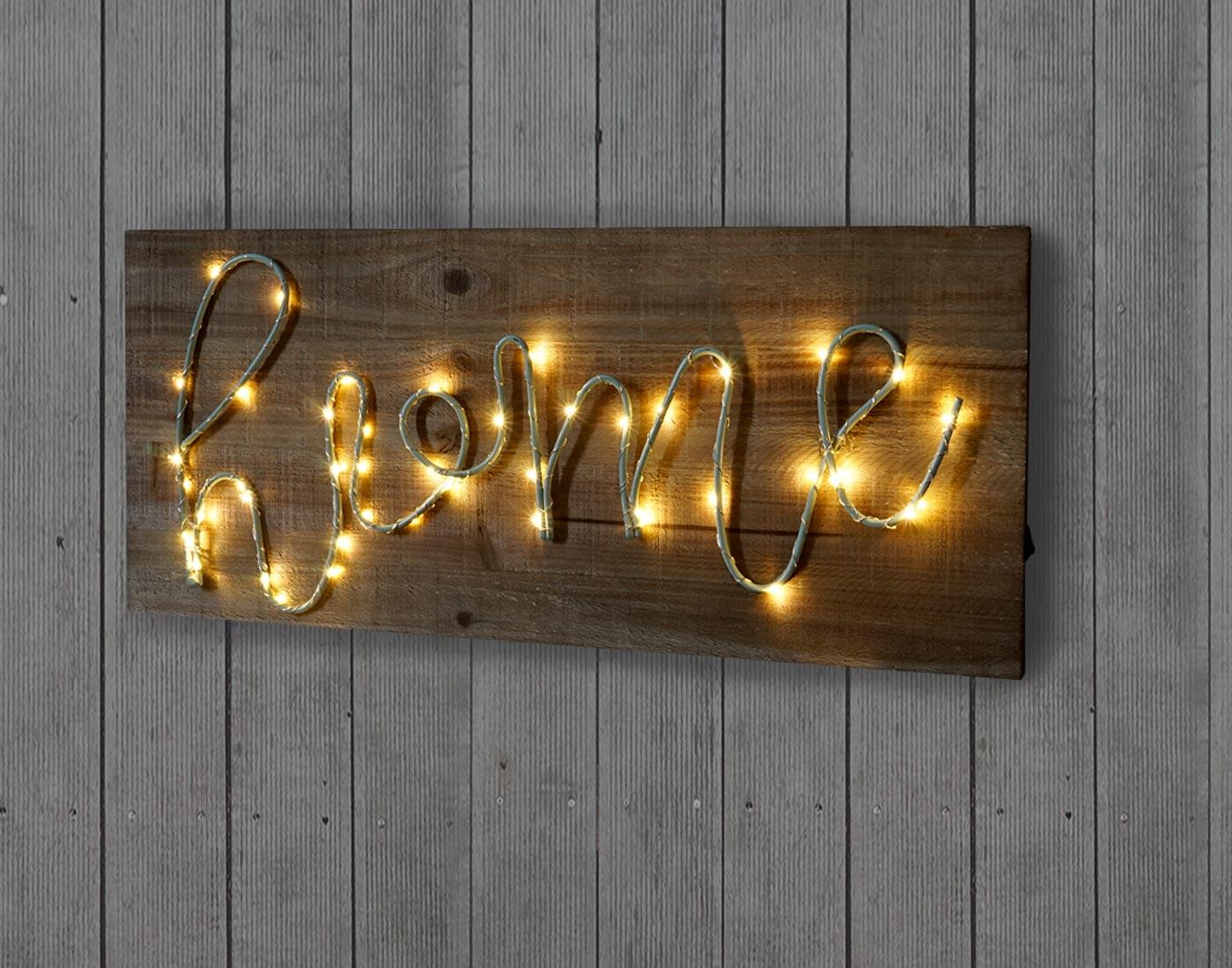 Targa cartello decorativo in legno con scritta led for Targhe decorative in legno