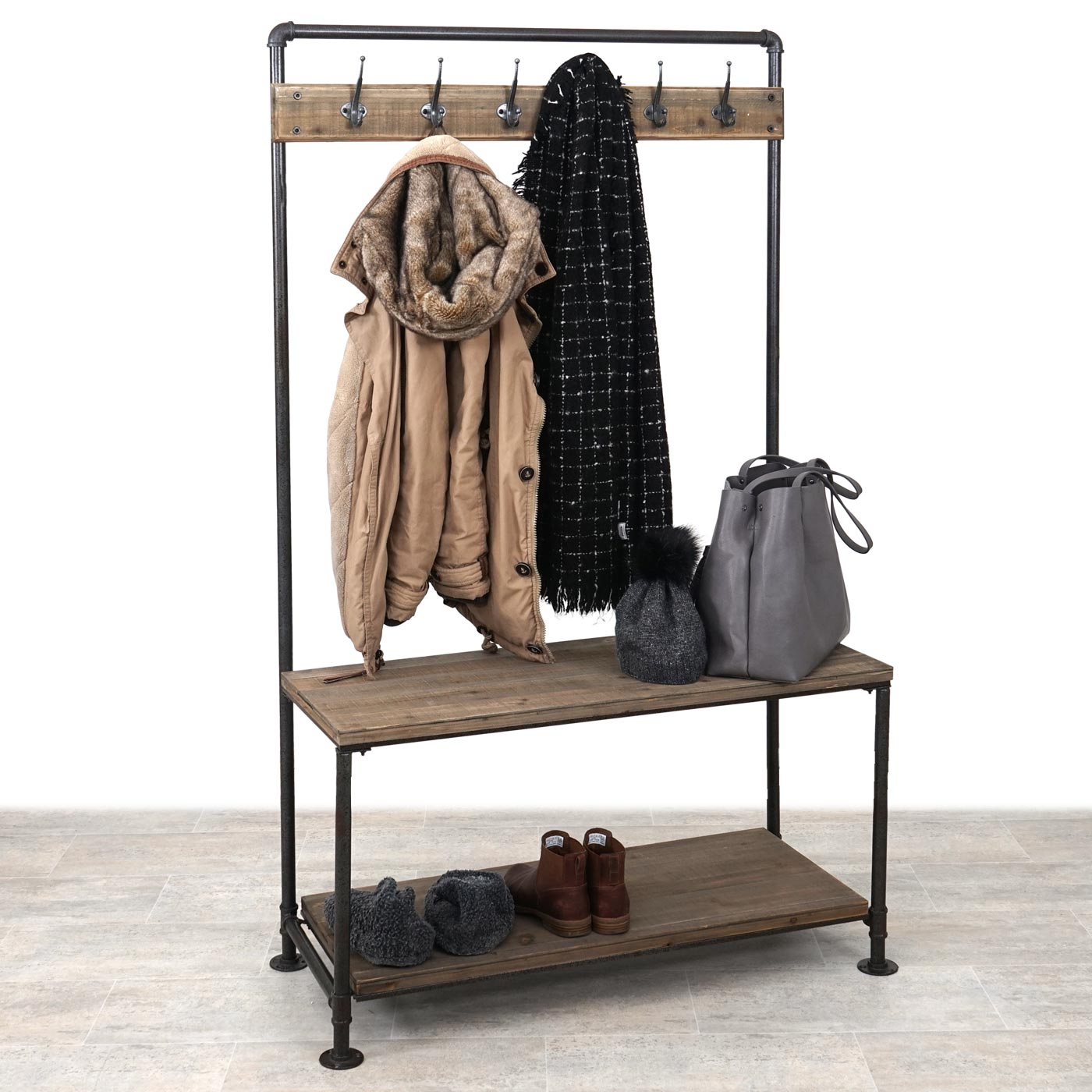 standgarderobe hwc c10 garderobe landhaus industriedesign echtholz 170x98x40cm. Black Bedroom Furniture Sets. Home Design Ideas
