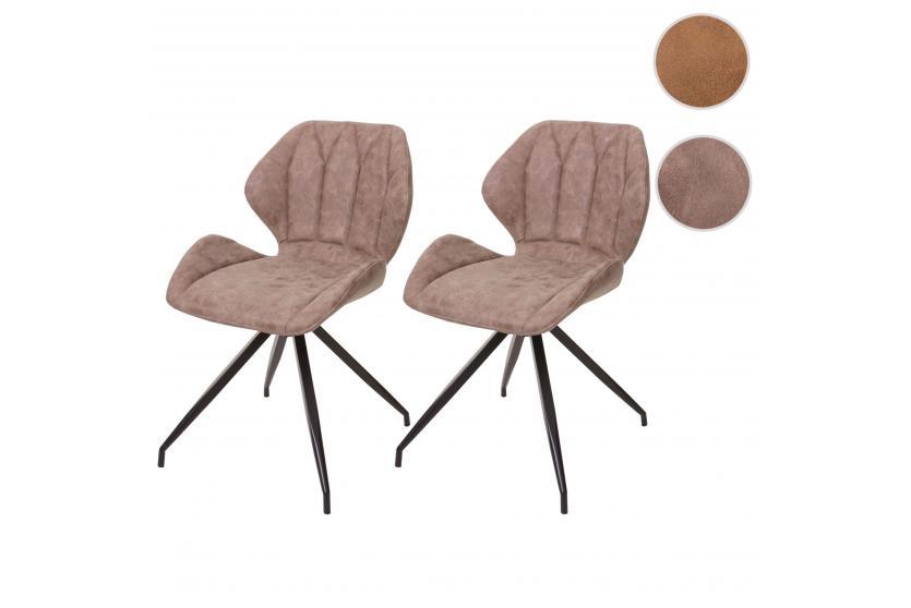 2x esszimmerstuhl hwc b46 stuhl lehnstuhl metall kunstleder vintage braun. Black Bedroom Furniture Sets. Home Design Ideas