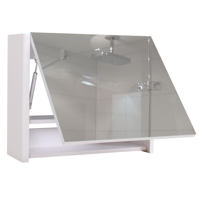 Spiegelschrank HWC-B19, Wandspiegel Badspiegel Badezimmer, aufklappbar  hochglanz 48x79cm ~ weiß