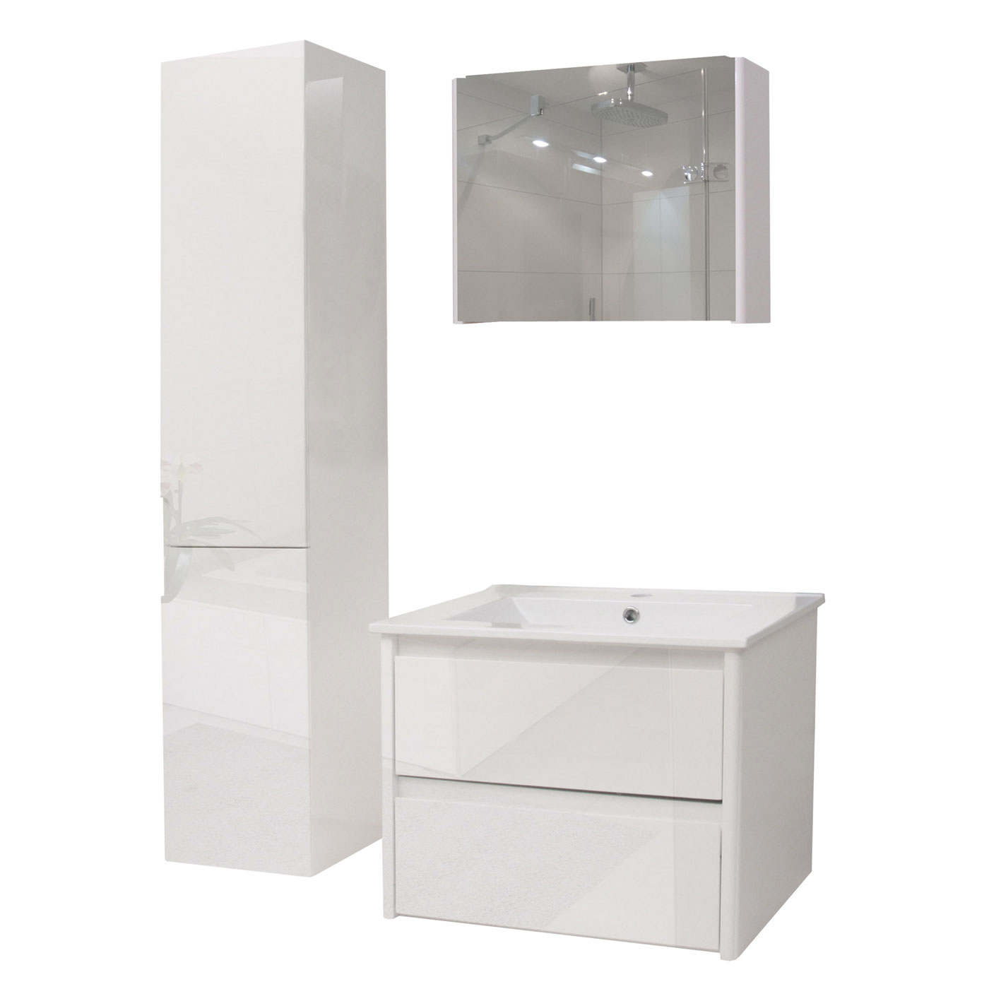 Badezimmerset hwc b19 waschtisch spiegelschrank for H ngeschrank hochglanz