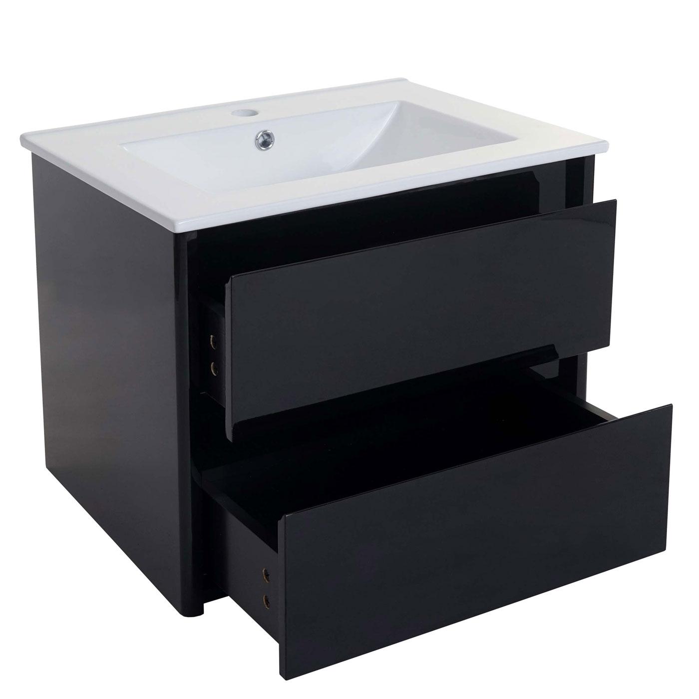 waschbeckenunterschrankset hwc b19 waschbecken waschtisch badezimmer hochglanz 50x60cm schwarz. Black Bedroom Furniture Sets. Home Design Ideas