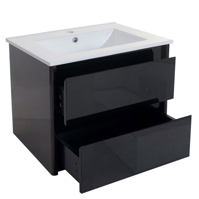 Waschbecken + Unterschrank HWC B19, Waschbecken Waschtisch Badezimmer,  Hochglanz 50x60cm ~ Schwarz
