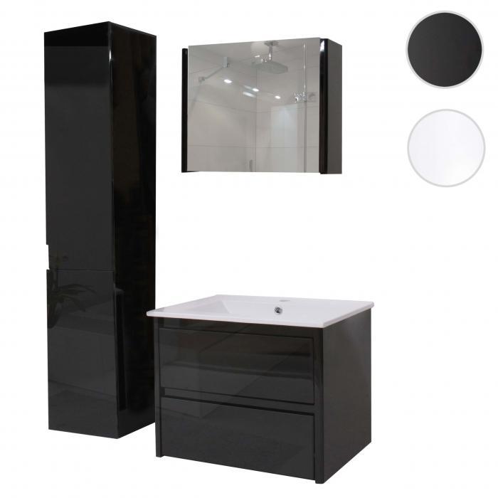 badezimmerset xl hwc b19 waschtisch spiegelschrank h ngeschrank hochglanz schwarz. Black Bedroom Furniture Sets. Home Design Ideas