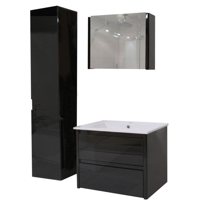 badezimmerset hwc b19 waschtisch spiegelschrank h ngeschrank hochglanz schwarz. Black Bedroom Furniture Sets. Home Design Ideas