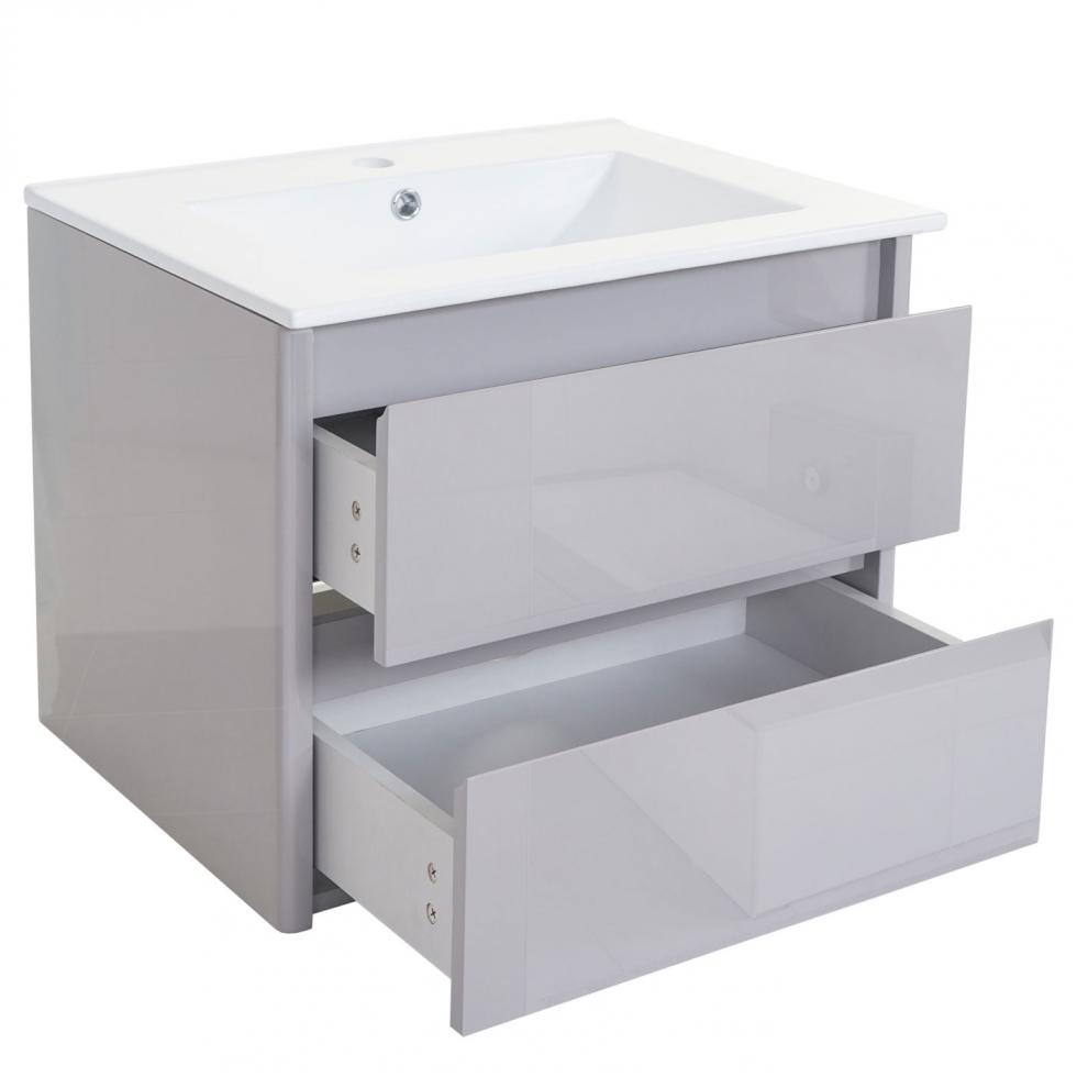 waschbecken unterschrank hwc b19 badezimmer hochglanz 50x60cm grau ebay. Black Bedroom Furniture Sets. Home Design Ideas