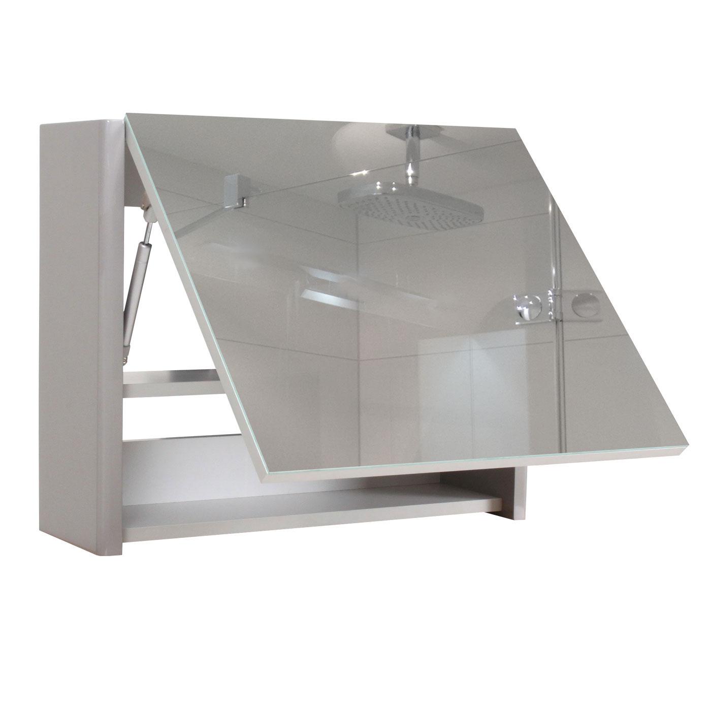 spiegelschrank hwc b19 wandspiegel badspiegel badezimmer aufklappbar hochglanz 48x59cm grau. Black Bedroom Furniture Sets. Home Design Ideas
